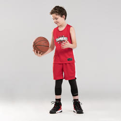 兒童款中階籃球背心T500-紅色/白色