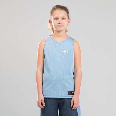 Boys'/Girls' Intermediate Reversible Basketball Shorts SH500R - Blue