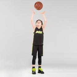 兒童款中階3/4籃球緊身褲-黑色