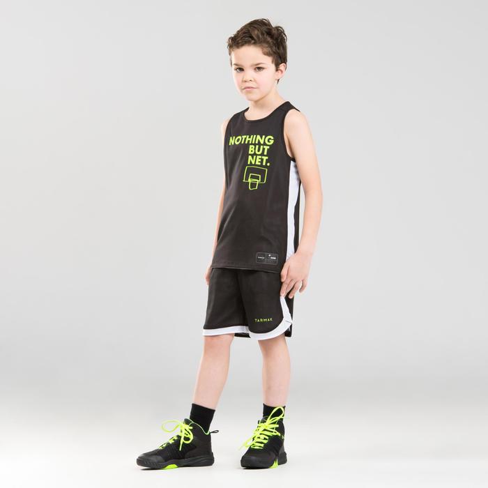 兒童款中階雙面籃球運動衫T500R-黑色/白色/Noth