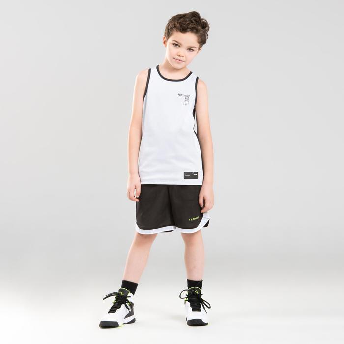 兒童款中階雙面籃球短褲SH500R-白色/黑色