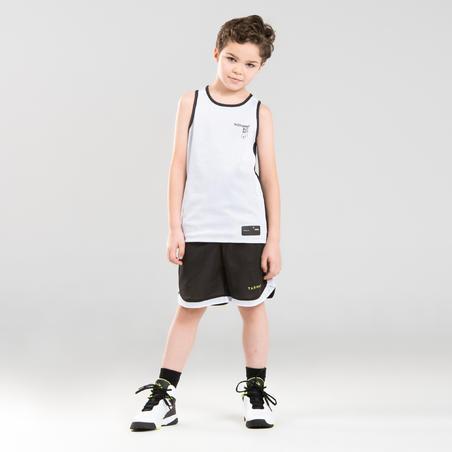 Celana Bola Basket Bisa Dibalik Pemain Menengah Putra/Putri SH500R - Putih/Hitam