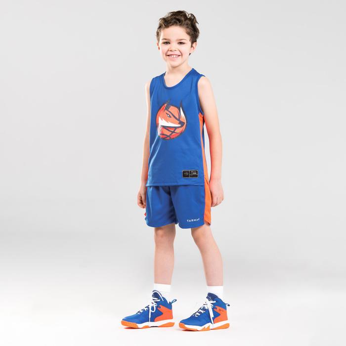 Basketbalshirt voor gevorderde jongens/meisjes T500 blauw/oranje Fox