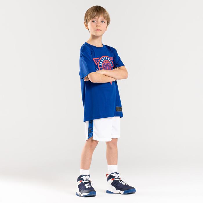 Boys'/Girls' Intermediate Basketball Shorts SH500 - White/Blue