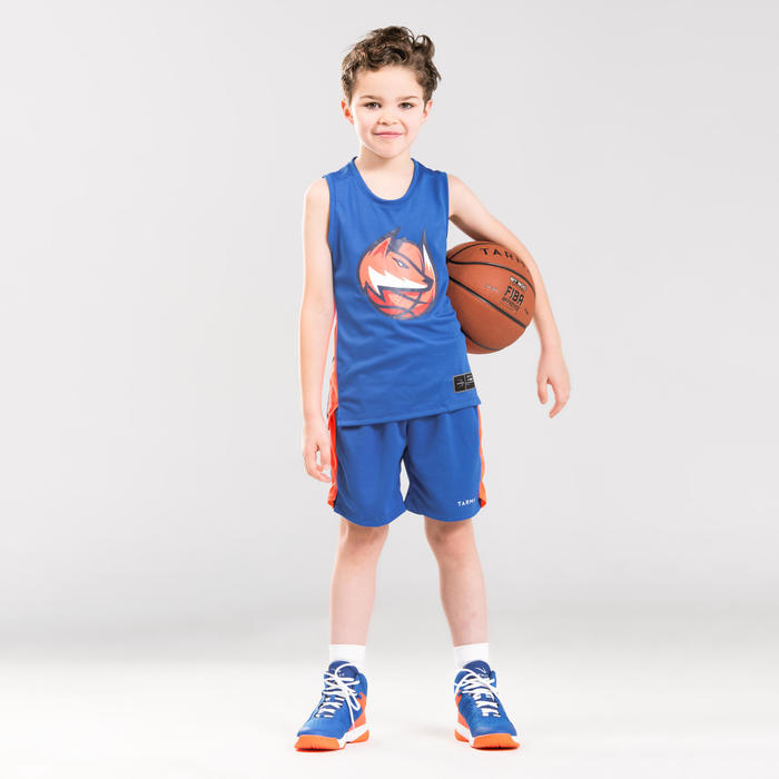 MAILLOT DE BASKETBALL POUR GARCON/FILLE CONFIRME(E) BLEU ORANGE FOX T500