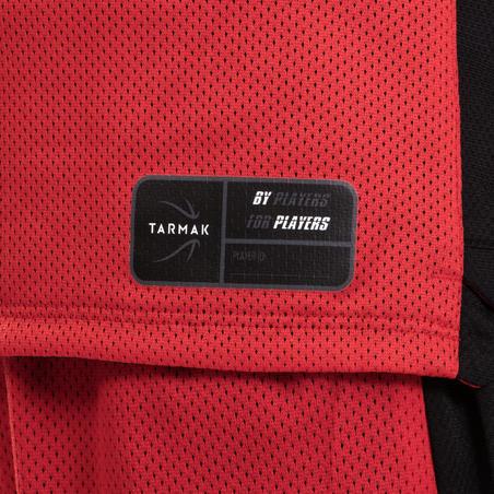 גופיית כדורסל דו צדדית מדגם T500R לבנים/בנות ברמה בינונית- שחור/אדום