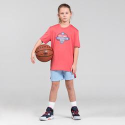 Basketbalshort voor gevorderde jongens/meisjes blauw/roze SH500