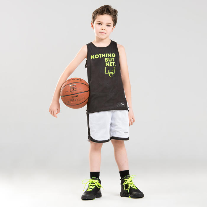 Boys'/Girls' Intermediate Reversible Basketball Jersey T500R - Black/White Noth