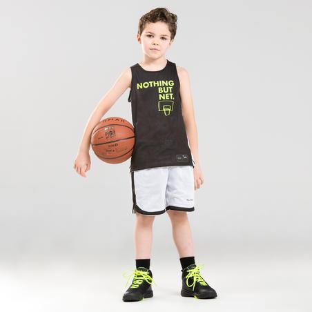 Boys'/Girls' Intermediate Reversible Basketball Jersey T500R - Black/White Noth
