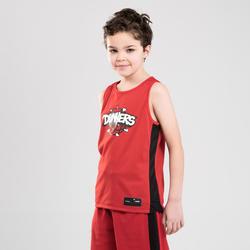Basketbalshirt voor jongens/meisjes van gevorderd niveau T500R dunkers zwart/rd