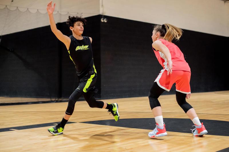Girls'/Boys' Intermediate Basketball Shoes SS500M - Black/Neon Yellow