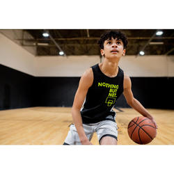 Basketbalshirt voor jongens/meisjes van gevorderd niveau T500R NBN zwart/wit