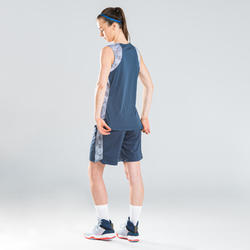 Basketbalshort dames navy grijs SH500