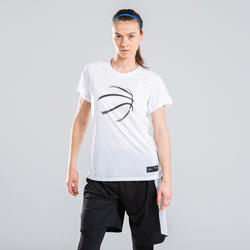 女款中階籃球T恤TS500-深灰色