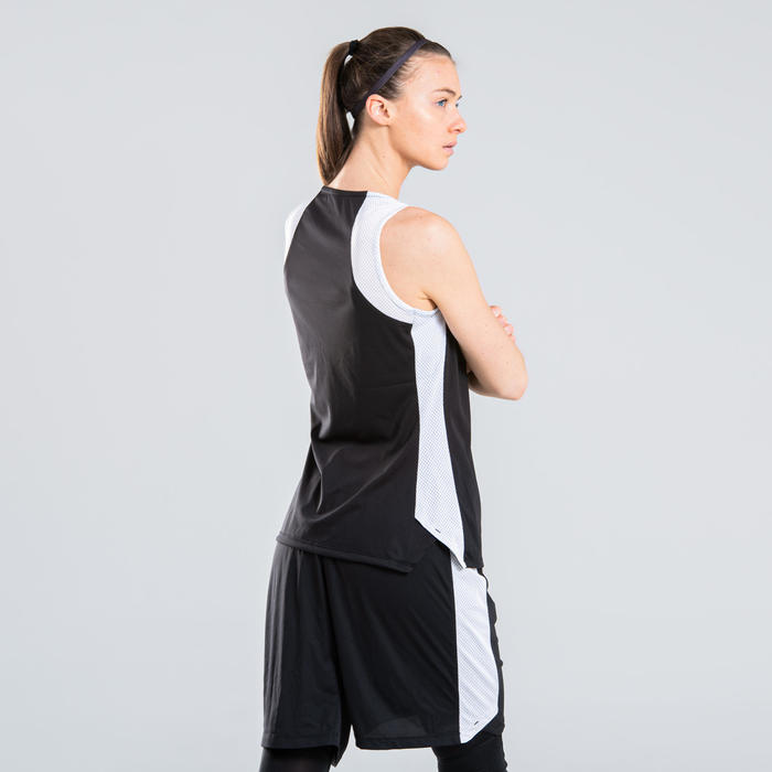 女款籃球運動衫T500-黑白配色