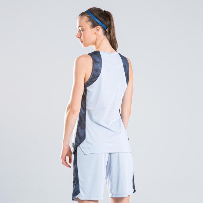 Basketbalshort dames lichtgrijs navy SH500
