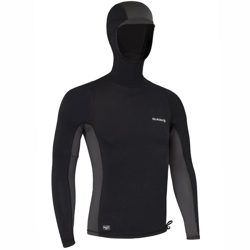 Men's Surfing UV-Protection Top T-Shirt with Hood 500 - Black