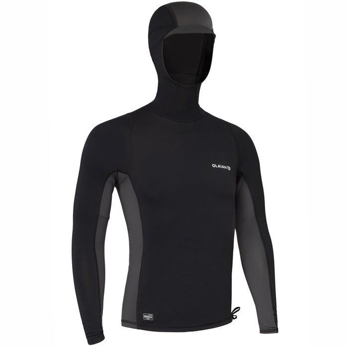 Uv-werende rashguard voor surfen heren 500 capuchon zwart