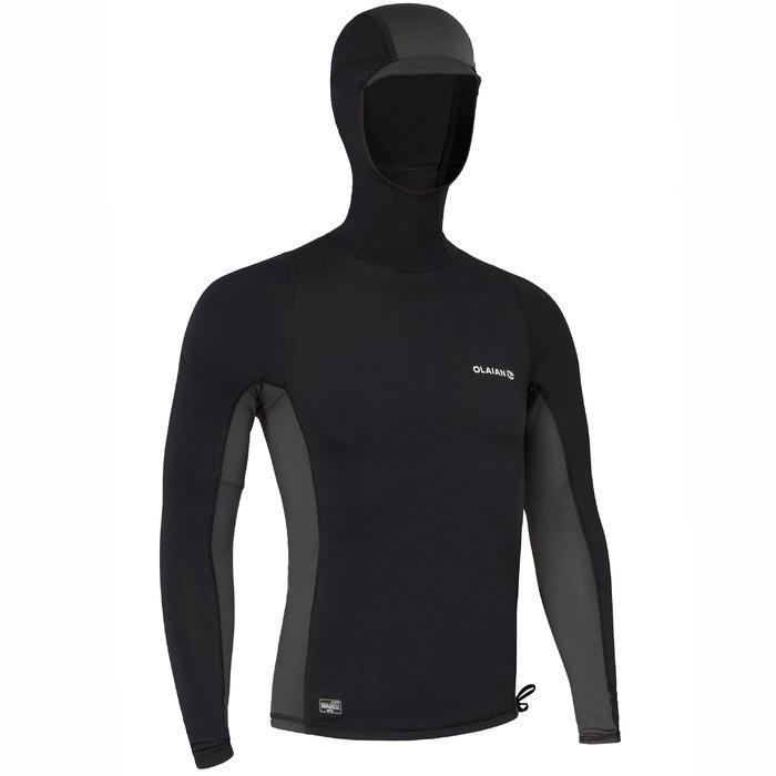 tee shirt anti uv surf top 500 capuche homme noir