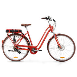 Elektrische fiets / E-bike Elops 900 laag frame stadsfiets rood