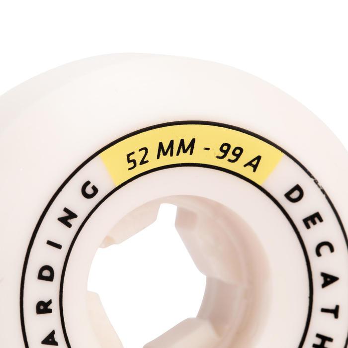JEU DE 4 ROUES DE SKATEBOARD COULEUR IVOIRE FORME CONIQUE TAILLE 52mm, 99A.