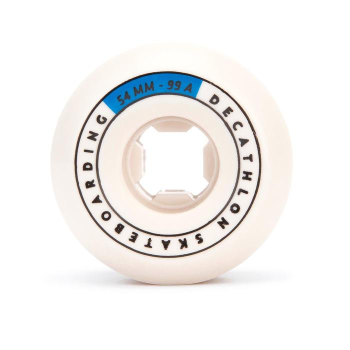 Skateboardwielen 54 mm 99A conische vorm ivoorkleur set van 4