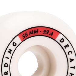 JEU DE 4 ROUES DE SKATEBOARD COULEUR IVOIRE FORME CONIQUE TAILLE 56mm, 99A.
