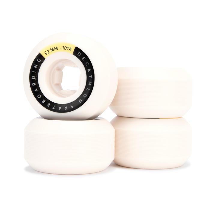 Skateboardwielen 52 mm 101A conische vorm ivoorkleur set van 4