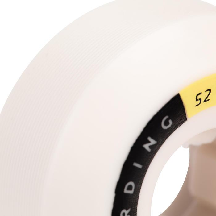 JEU DE 4 ROUES DE SKATEBOARD COULEUR IVOIRE FORME CONIQUE TAILLE 52mm, 101A.