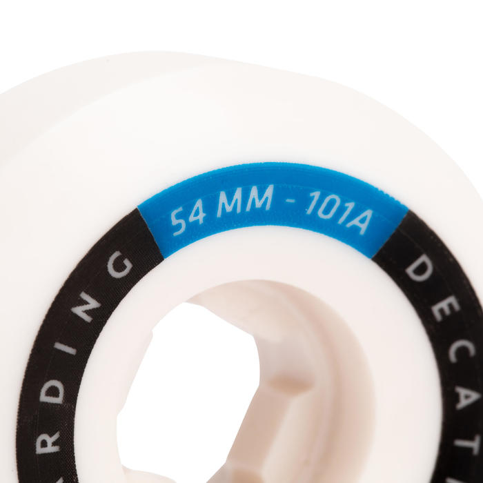 JEU DE 4 ROUES DE SKATEBOARD COULEUR IVOIRE FORME CONIQUE TAILLE 54mm, 101A.