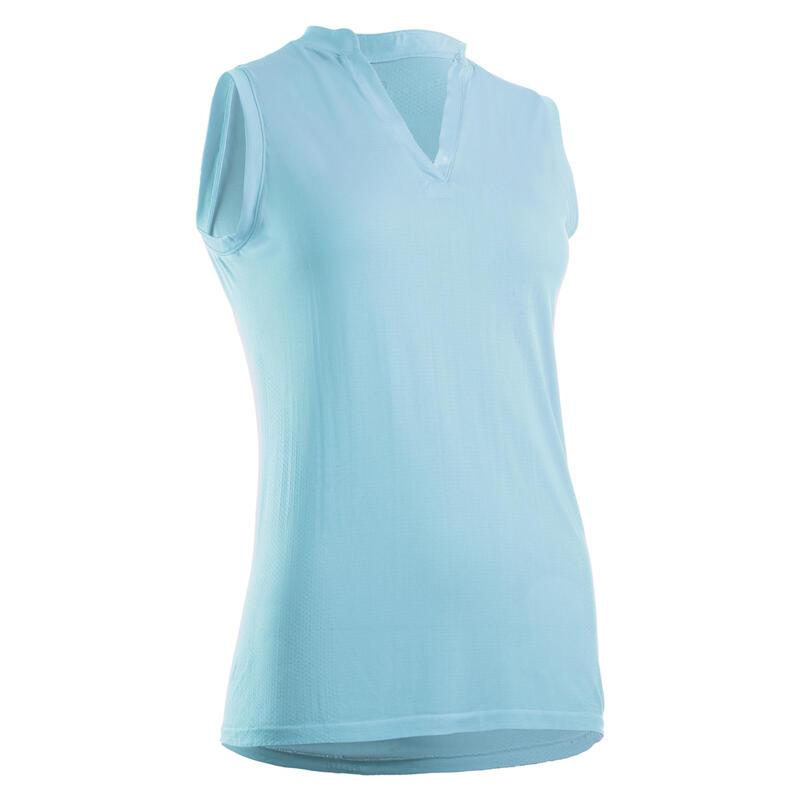 Women's Ultralight Sleeveless Golf Polo Shirt - Sky Blue