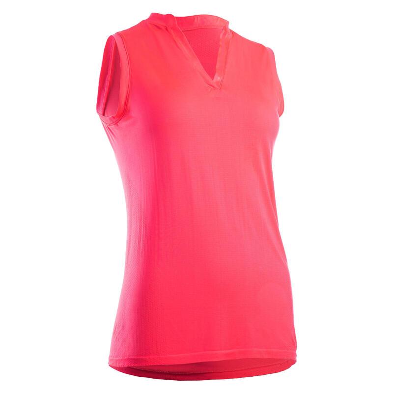 Women's Ultralight Sleeveless Golf Polo Shirt - Neon Coral