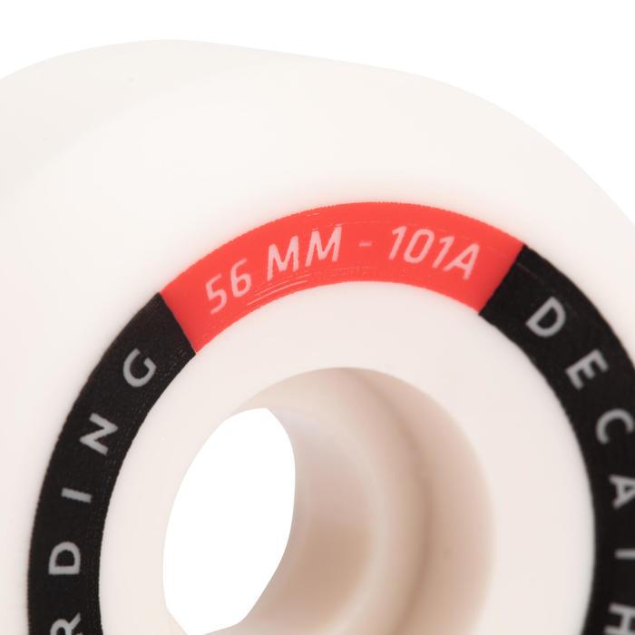 JEU DE 4 ROUES DE SKATEBOARD COULEUR IVOIRE FORME CONIQUE TAILLE 56mm, 101A.