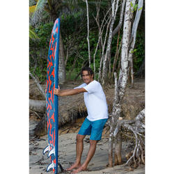 """500 Foam Surfboard 8'6"""". Supplied with a leash and three fins."""