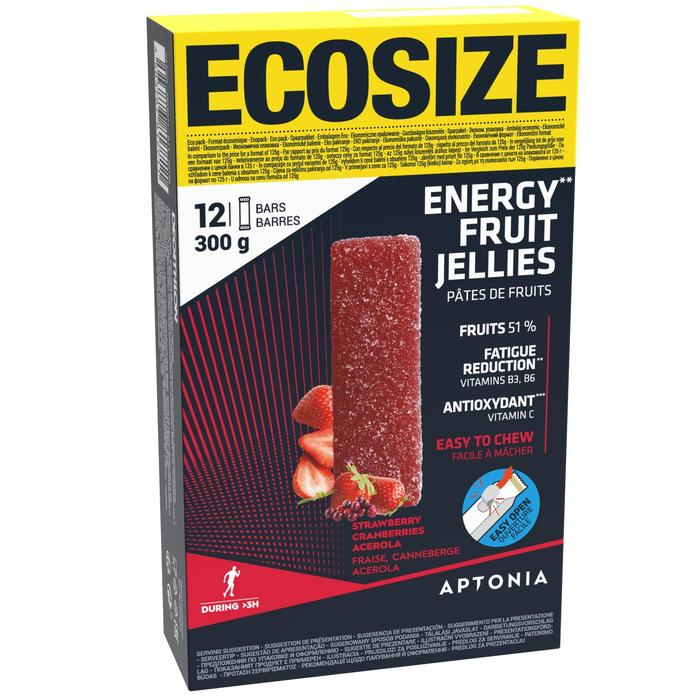 Pâte de fruits ENERGY FRUIT JELLIES ECOSIZE fraise cranberries acerola 12 x 25g