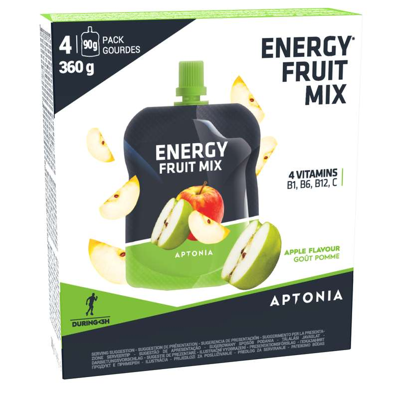 BARS, GELS & AFTER Supplements - ENERGY FRUIT MIX 4X90 G APPLE APTONIA - Energy Supplements