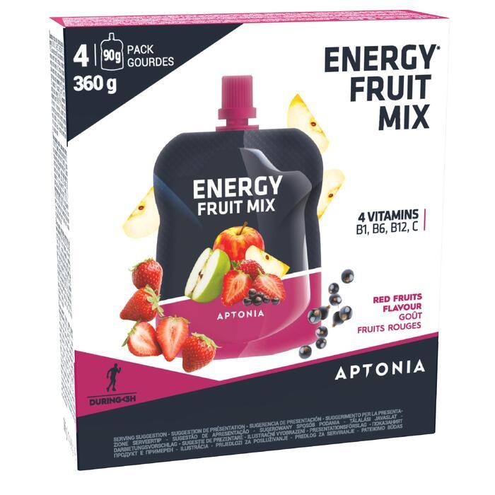 Vruchtenbereiding voor extra energie appel en rode vruchten 4x 90g