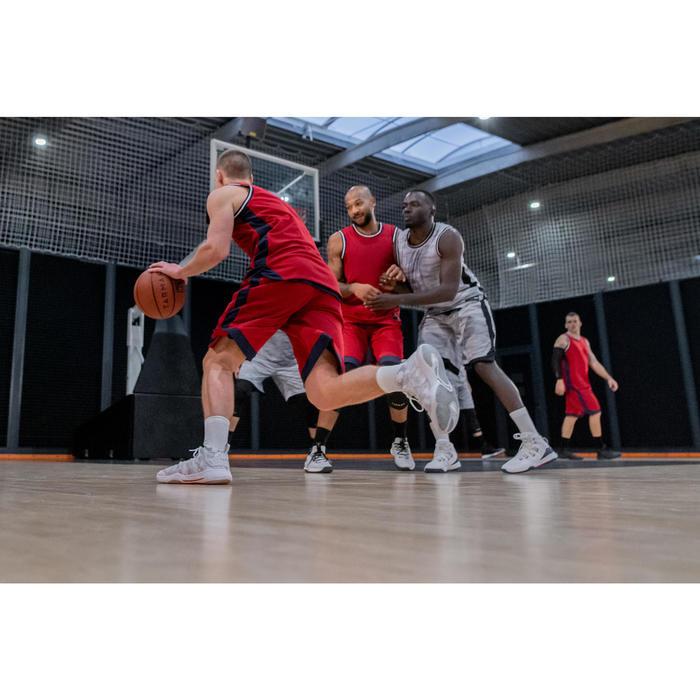 MAILLOT / DEBARDEUR DE BASKETBALL REVERSIBLE HOMME T500R BLEU / ROUGE GRENAT