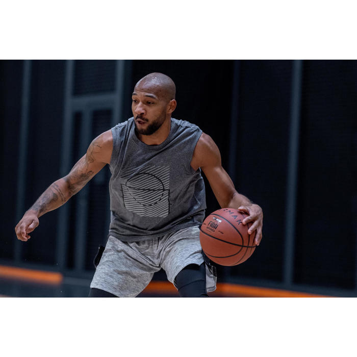 Men's Sleeveless Basketball T-Shirt / Jersey TS500 - Grey Racket