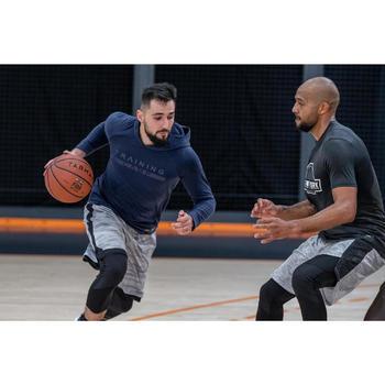 男款長袖連帽籃球運動T恤TS500-軍藍色