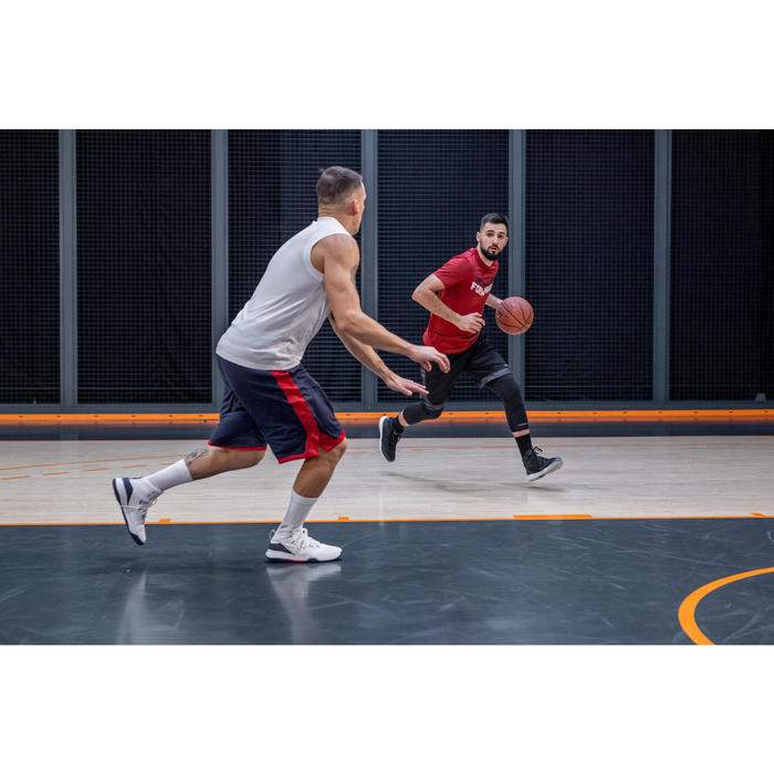 SHORT DE BASKETBALL REVERSIBLE HOMME BLEU MARINE / ROUGE GRENAT