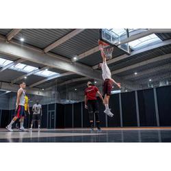 SHORT DE BASKETBALL REVERSIBLE HOMME GRIS / BORDEAUX