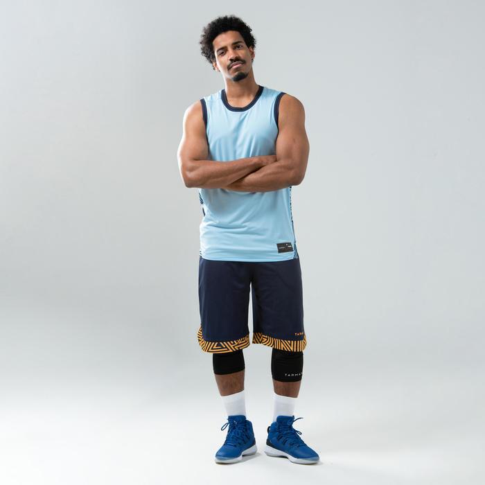 男款雙面籃球運動衫/背心T500R - 淡藍/軍藍