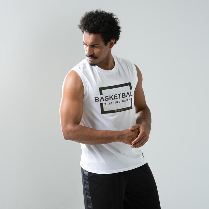 Basketballshirt ärmellos TS500 Training Camp Herren weiss