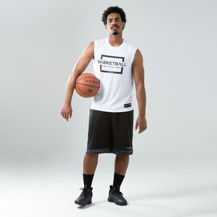 T-SHIRT / MAILLOT SANS MANCHE DE BASKETBALL HOMME TS500 BLANC TRAINING CAMP
