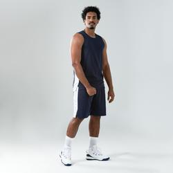 Basketbalshort voor heren SH500 zwart/blauw/wit