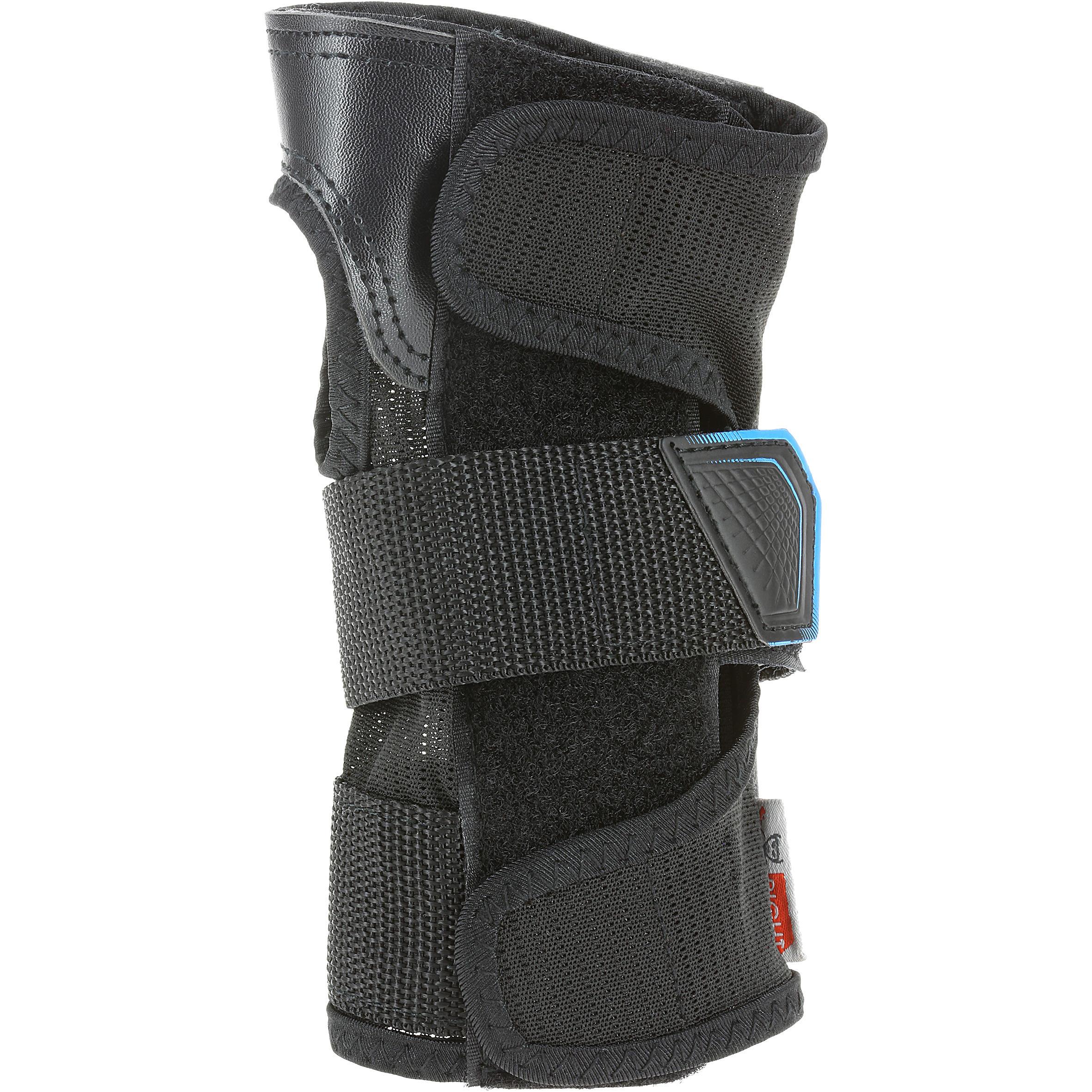 Set 3 protections roller skateboard trottinette adulte FIT500 noir bleu