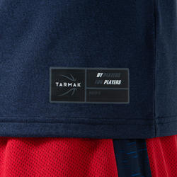 男款籃球T恤/運動衫TS500 - 海軍藍/Assists Maker圖樣