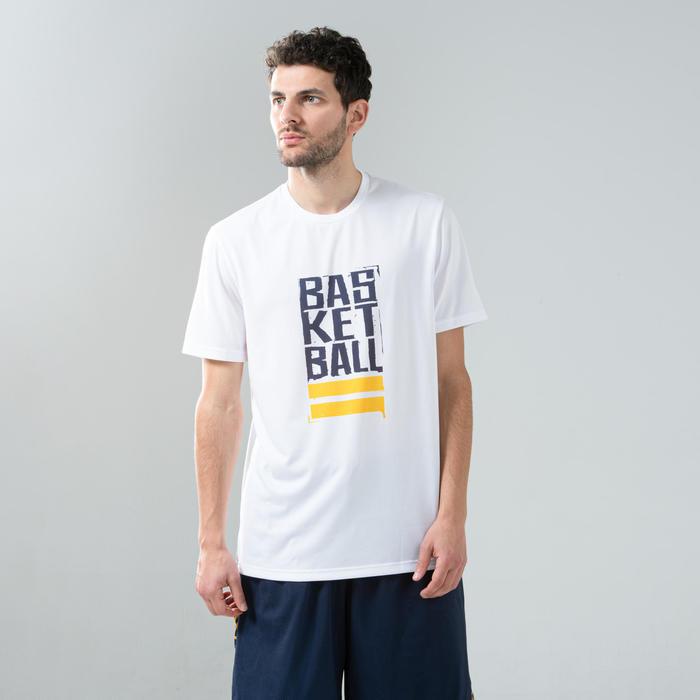 T-SHIRT / MAILLOT DE BASKETBALL HOMME TS500 BLANC/BLEU STREET