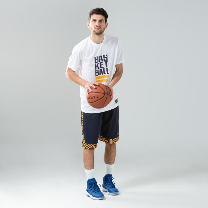 男款雙面籃球運動短褲-天藍色/海軍藍配色